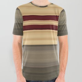 Rich Gold Burgundy Stripes All Over Graphic Tee