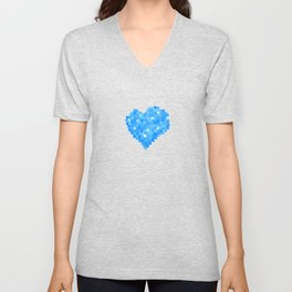 Winter Blue Crystallized Abstract Heart Unisex V-Neck