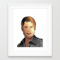 brad pitt Framed Art Prints featuring Portrait of Brad Pitt by Christian Simonian