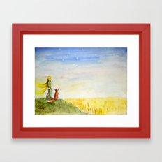 Little Prince, Fox and Wheat Fields Framed Art Print