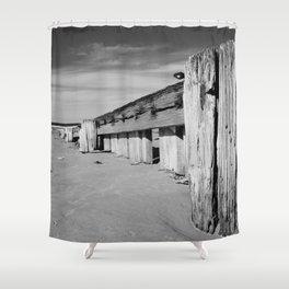 Groynes B and W Shower Curtain