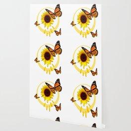 ORANGE MONARCH BUTTERFLIES & SUNFLOWER  PATTERN Wallpaper