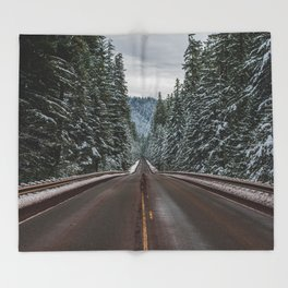 Winter Road Trip - Pacific Northwest Nature Photography Throw Blanket