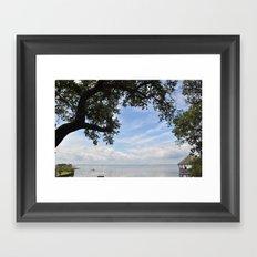 OuterBanks Vacation Blue Sky Landscape Scene Framed Art Print