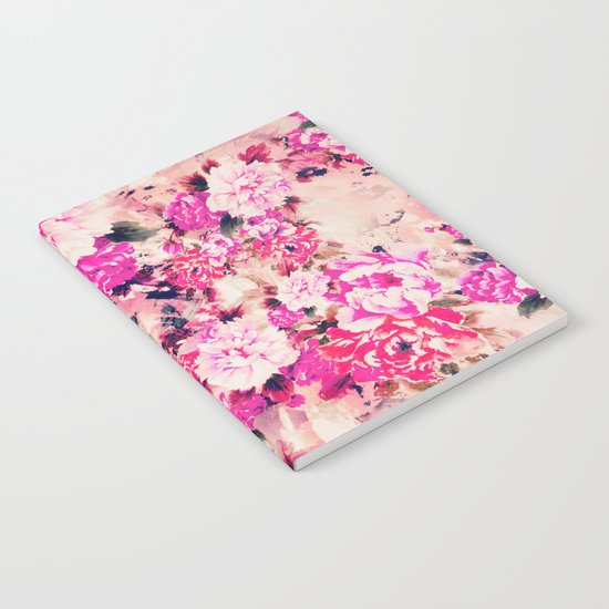 Elegant Pink Chic Floral Pattern Girly Peonies Notebook