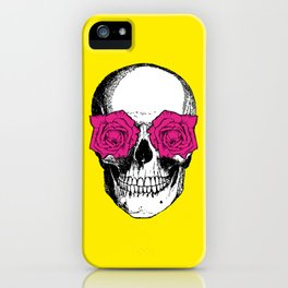 Skull and Roses | Skull and Flowers | Vintage Skull | Yellow and Pink | iPhone Case