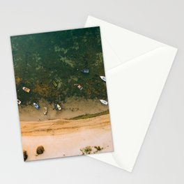 Aerial view of a Lagoon with boats Stationery Cards