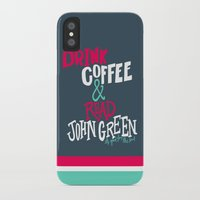 john green iPhone & iPod Cases featuring Coffee and John Green by Chelsea Herrick