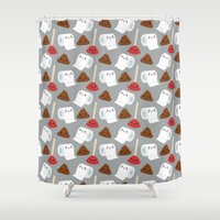 toilet Shower Curtains featuring Toilet pattern by Irmirx