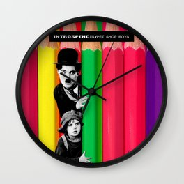 INTROSPENCIL / Pet Shop Boys - Introspective - The Kid Chaplin - Digital Illustration - Pop Art Wall Clock