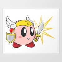 kirby Art Prints featuring Valkyrie Kirby by Mel W.