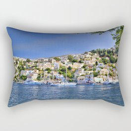 Symi island in Greece. Traditional houses. Sunny day with blue sky and sea. Rectangular Pillow