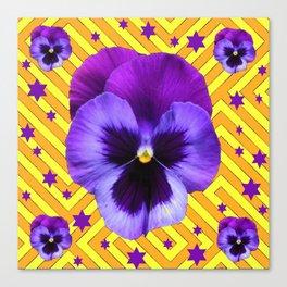 DECORATIVE LILAC PURPLE PANSIES  FLOWERS & PURPLE STARS Canvas Print