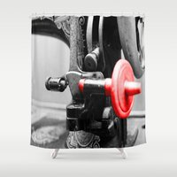 sewing Shower Curtains featuring Sewing Machine by Four Hands Art