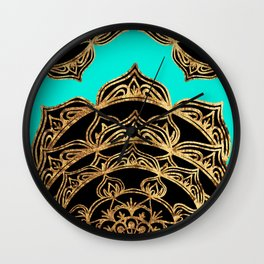 Gold Lace on Turquoise Wall Clock