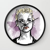 moriarty Wall Clocks featuring elementary: jamie moriarty by roanne Q