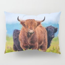 Highland cow watercolor painting #10 Pillow Sham