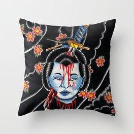 Severed Geisha head Throw Pillow