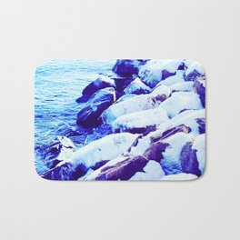 Snow Covered River Stones Bath Mat