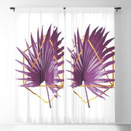 Minimal Tropical Palm Leaf - Palm And Gold - Gold Geometric - Modern Tropical Wall Art - Purple Blackout Curtain