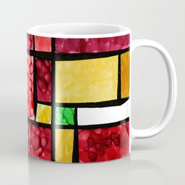 Abstract, square, qubism, red, Crucifixion, crown of thorns, Jesus, Christ Coffee Mug