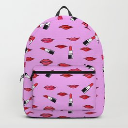 Lips and lispticks pattern in pinkish background Backpack