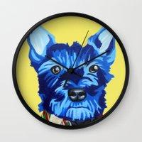 schnauzer Wall Clocks featuring Mini Schnauzer  by Blue Giraffe Art Works