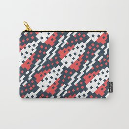 Chocktaw Geometric Square Cutout Pattern - Candy Cane USA Carry-All Pouch