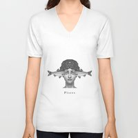 pisces V-neck T-shirts featuring Pisces by A.M.