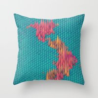 japan Throw Pillows featuring Japan by JR Schmidt