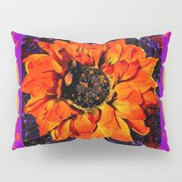 Orangey-Red Dahlia Butterly Lilac Pattern Pillow Sham