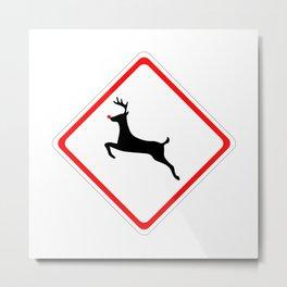 Christmas Reindeer Street Sign Metal Print