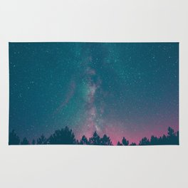 Blue Purple Pink Silhouette Milky Way Galaxy Forest Rug