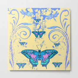 ORNATE BLUE BUTTERFLIES SCROLL DESIGNS  ART Metal Print