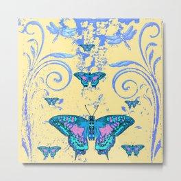 ORNATE BLUE BUTTERFLIES SCROLL DESIGNS  ART Metal Print