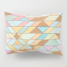 Triangle Pattern No. 25 Gold Pink Turqouise Pillow Sham