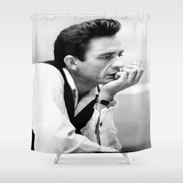 Johnny#Cash Smoking, Music Print, Country Legend, Vintage photography Shower Curtain