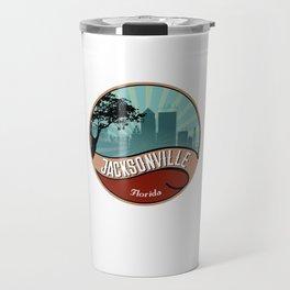 Jacksonville City Skyline Design Florida Retro Vintage 80s Travel Mug