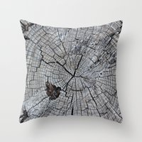 tree rings Throw Pillows featuring Rings by Elizabeth Velasquez