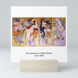 "Alfons Mucha, "" Four Seasons (1895)"" Mini Art Print"