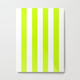 Vertical Stripes - White and Fluorescent Yellow Metal Print