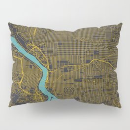 Portland, OR City Map, Yellow/Navy Pillow Sham