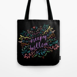 Creepy Hollow - color on black Tote Bag
