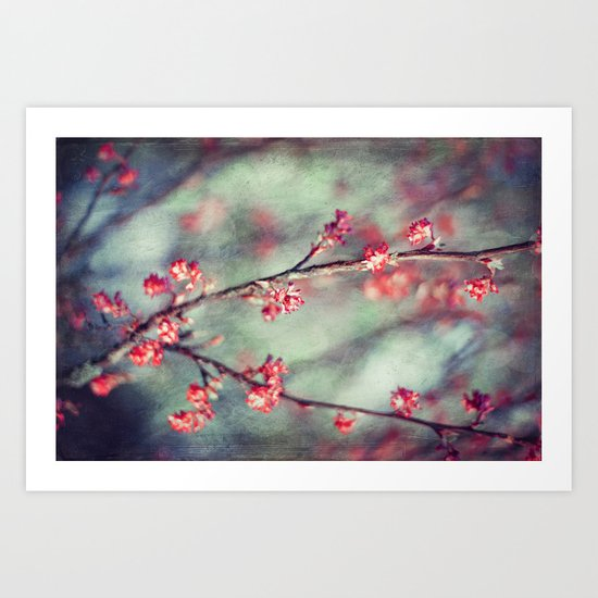 tiny RED flowers Art Print