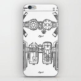 Starwars Tie Bomber Patent - Tie Bomber Art - Black And White iPhone Skin