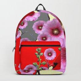 MODERN  RED ART PINK HOLLYHOCKS & RED CARDINAL BIRD Backpack