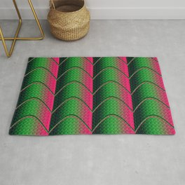 Pink&Green Textured Pattern Rug