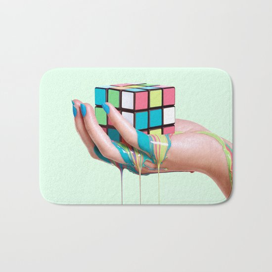 MELTING RUBIKS CUBE Bath Mat