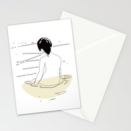 Nude Woman Geisha Japanese Line Art Drawing Erotic Naked Body Water Stationery Cards