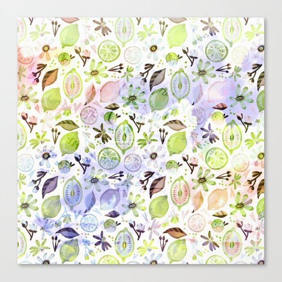 Lemons and flowers- floral Summer pattern on #Society6 Canvas Print